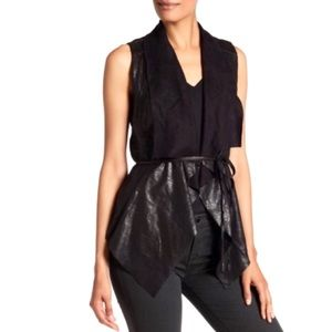 Bagatelle Faux Leather Waterfall Vest
